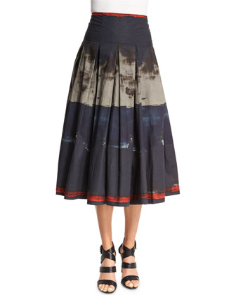 Pleated Brushstroke-Print Full Skirt, Multi Colors