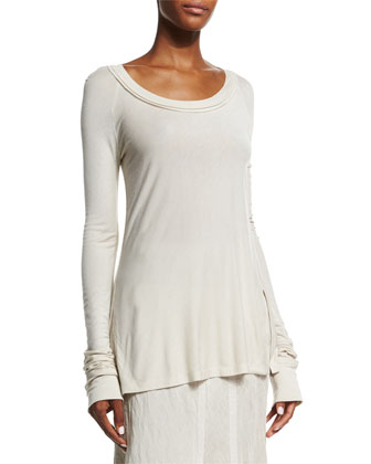 Long-Sleeve Round-Neck Top, Natural