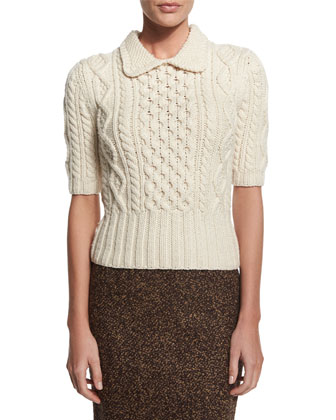 Aran Cable-Knit Collared Sweater, Vanilla