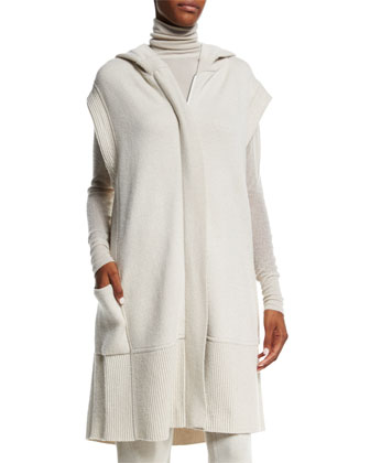 Hooded Zip-Front Long Vest, Natural