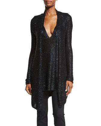 Long-Sleeve Draped-Front Cardigan, Black
