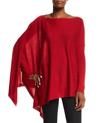 Asymmetric Cashmere Poncho Top, Lacquer