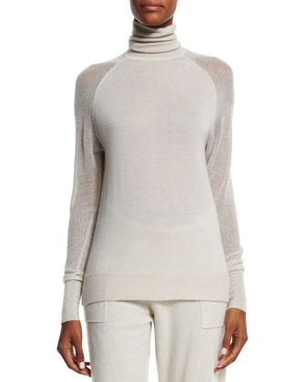 Hooded Zip-Front Long Cashmere Vest, Cashmere Turtleneck Sweater & Cashmere ...