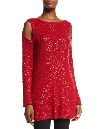 Cold-Shoulder Embellished Cashmere Tunic, Lacquer