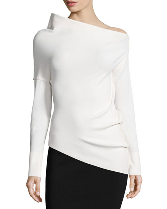 Asymmetric Structured Crepe Top, Ecru