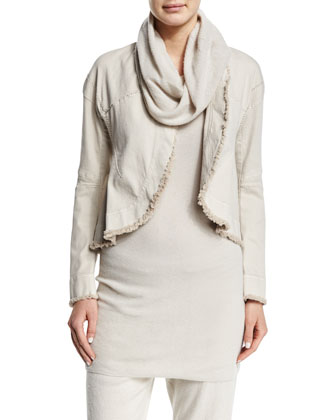 Long-Sleeve Raw-Edge Short Jacket, Sleeveless Mesh-Cowl Cashmere Tunic & ...