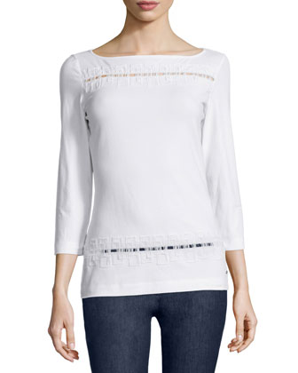 3/4-Sleeve Embroidered Tee, White