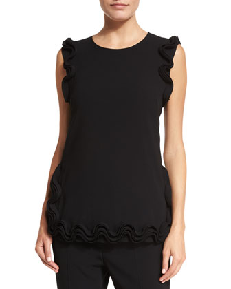 Ruffle-Trim Sleeveless Tunic, Black