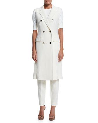 Double-Breasted Sleeveless Long Jacket, Off White