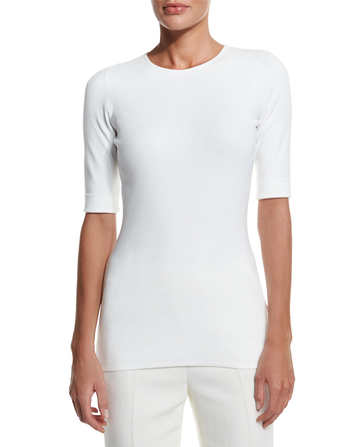 Half-Sleeve Jewel-Neck Tee, Off White, Size: L/10-12, OFF WHITE - Escada