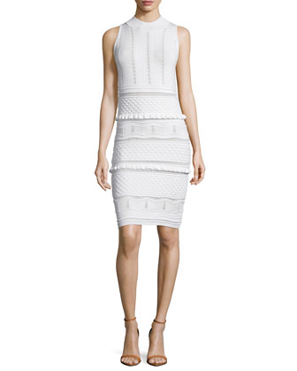 Sleeveless Novelty-Knit Dress, Off White