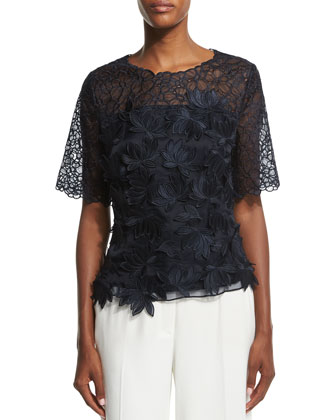 Short-Sleeve 3D Embroidered Lace Blouse, Navy