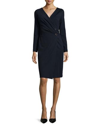 Long-Sleeve Wrap Dondi Dress, Navy