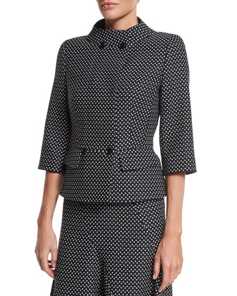 Double-Breasted Dot-Print Jacket, Black
