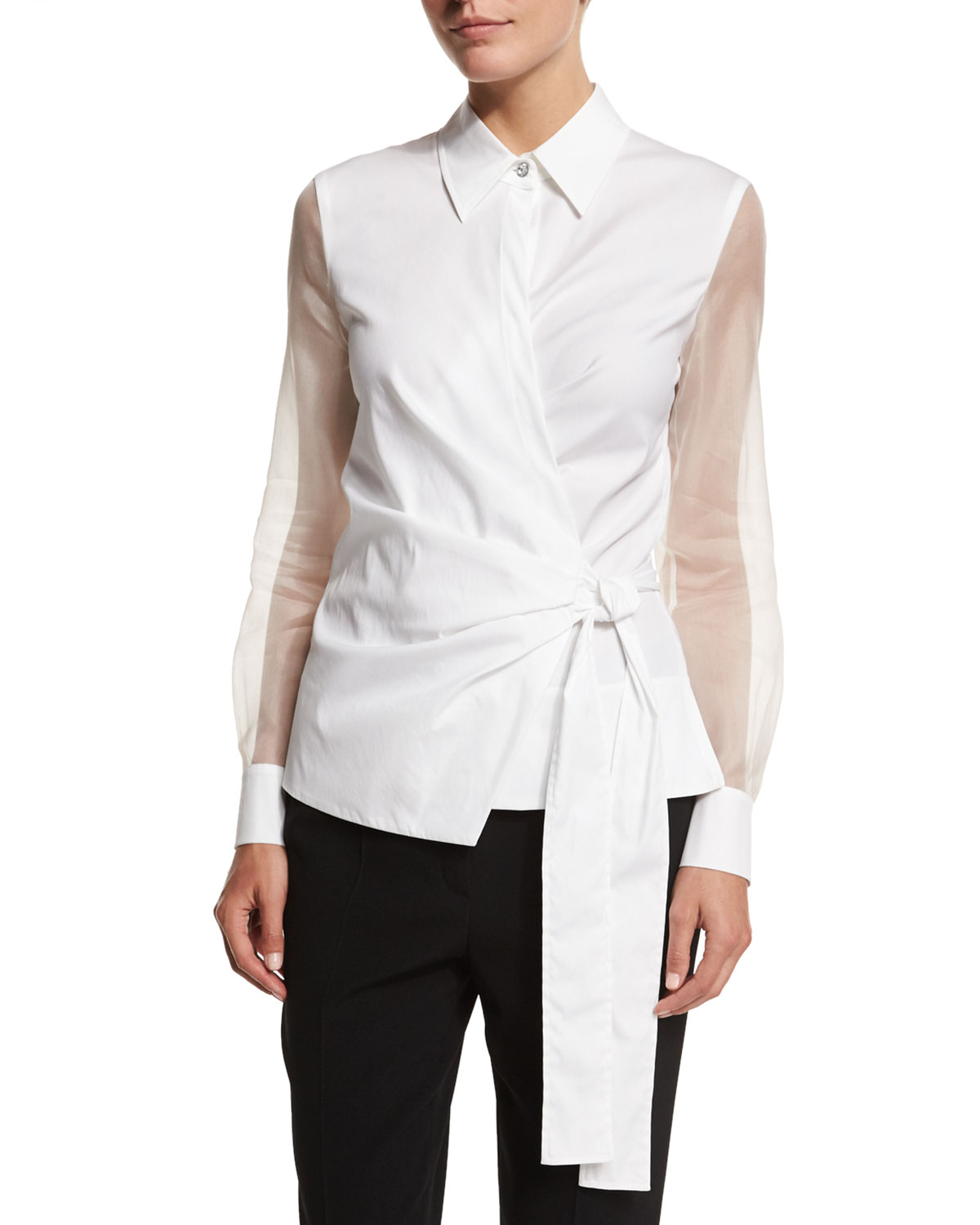 Sheer-Sleeve Wrap Blouse, White, Size: 32 - Escada