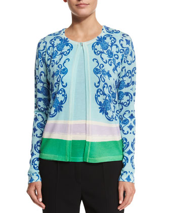 Acanthus Place Print Cardigan, Off White Multi