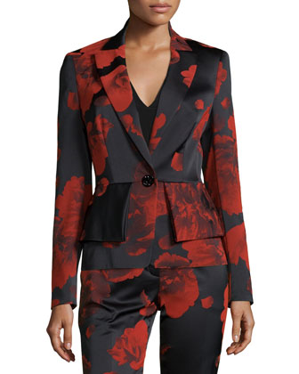 Floral-Print One-Button Peplum Jacket, Gladiola Red