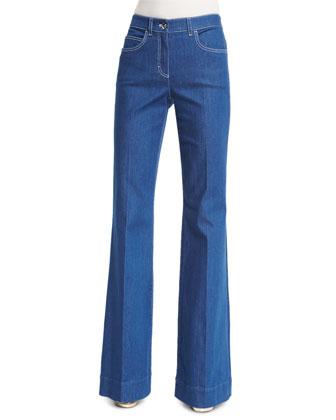 Mid-Rise Flare-Leg Jeans, Medium Blue