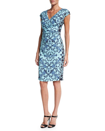 Cap-Sleeve Acanthus-Print Sheath Dress, Multi Colors