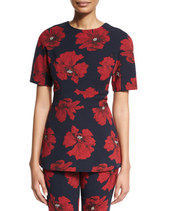 Short-Sleeve Floral-Print Peplum Top, Navy/Poppy