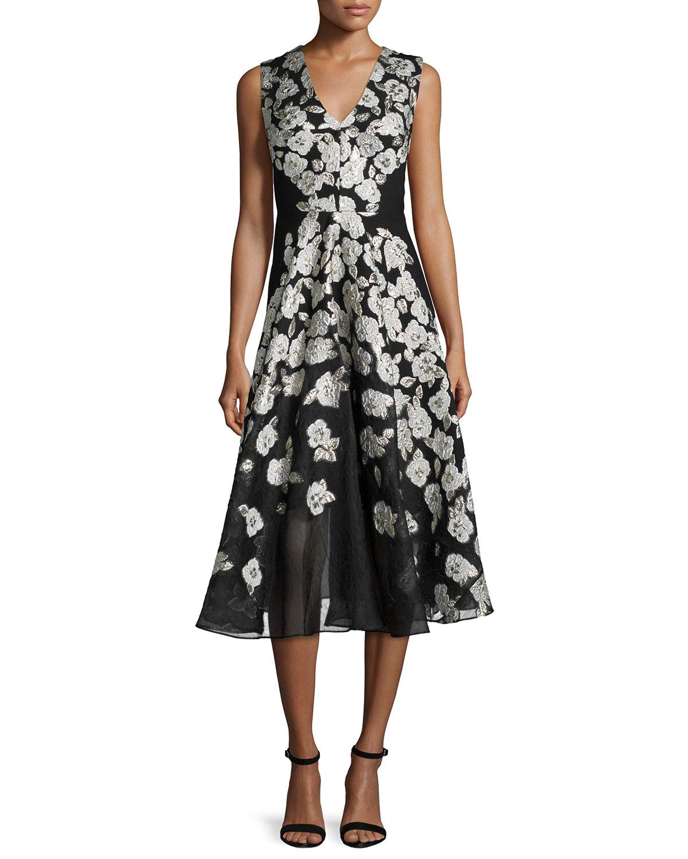 Sleeveless Stamped-Floral Dress, Black, Size: 0 - Lela Rose