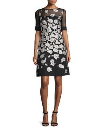 Stamped-Floral A-Line Dress, Black