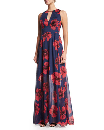 Floral-Print Open-Back Gown, Navy/Poppy