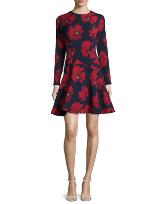 Long-Sleeve Fit-&-Flare Dress, Navy/Poppy