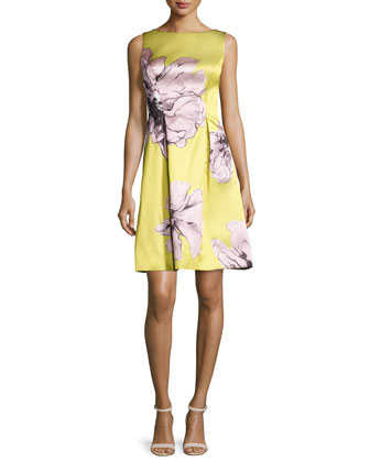 Oversized Floral-Print Sheath Dress, Citrine