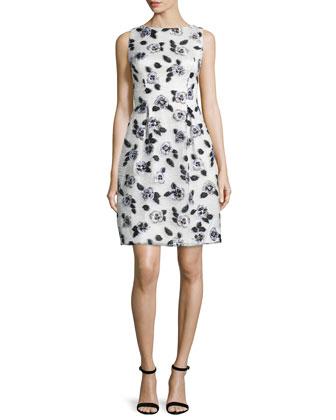 Stamped-Floral Sheath Dress, Ivory/Black