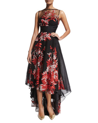 Sleeveless Embroidered High-Low Gown, Multi Colors