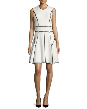 Sleeveless Contrast-Seam Dress, Ivory/Black