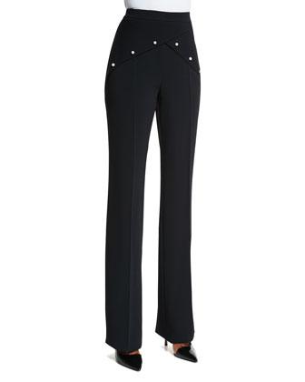 Flat-Front Flare-Leg Pants, Black