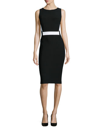 Two-Tone Mega Milano Sheath Dress, Black/White