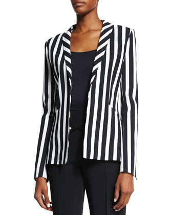Classic Striped Blazer, Black/White