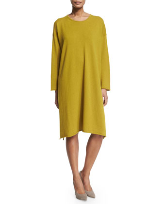 Round-Neck Cashmere Dress, Dark Olive Oil