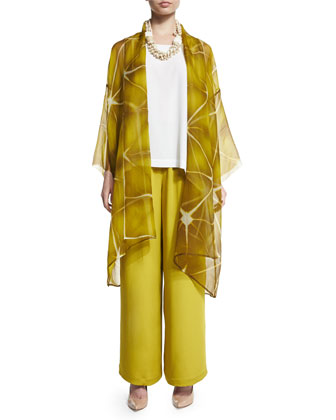 Open-Front Sheer Long Jacket, Dark Olive Oil