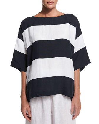 3/4-Sleeve Wide-Striped T-Shirt & Flare-Leg Cropped Linen Trousers