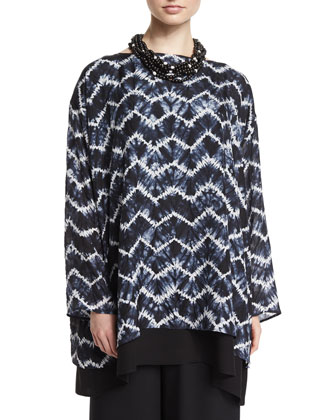 Long-Sleeve Chevron Layered Top, Indigo Dark