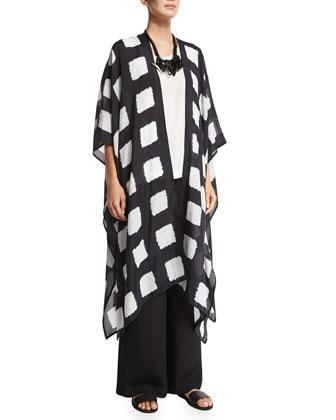 Half-Sleeve Open-Front Coat, Indigo Dark
