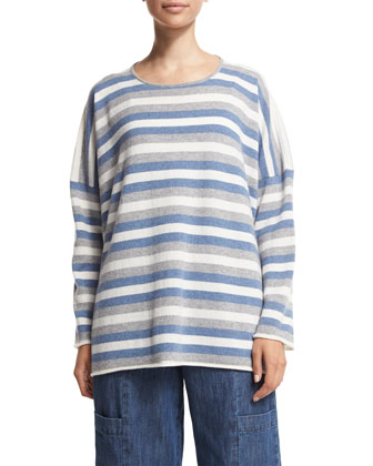 Long-Sleeve Striped Cashmere Top, Mix