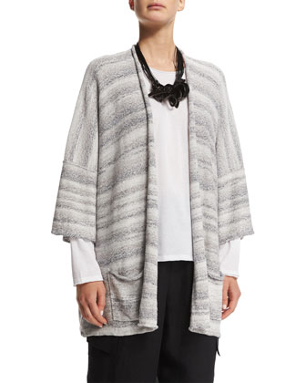 3/4-Sleeve Rolled-Front Cardigan, Gray Mix