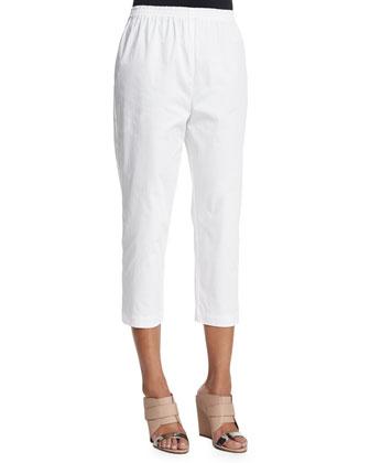 Cropped Slim-Leg Trousers, White