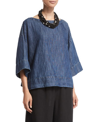 3/4-Sleeve Bateau-Neck Tunic, Denim