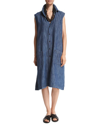 Sleeveless Button-Front Shirtdress, Denim