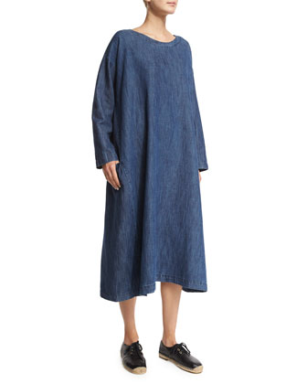 Long-Sleeve Round-Neck Dress, Denim
