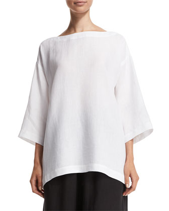 3/4-Sleeve Bateau-Neck Linen Tunic, White