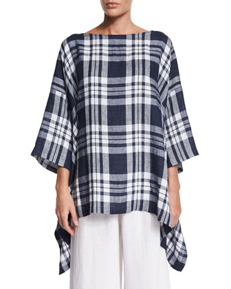 3/4-Sleeve Check-Print Top, Indigo
