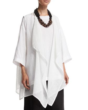 Waterfall-Front Sleeveless Linen Vest, White