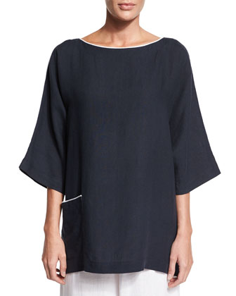 3/4-Sleeve Two-Tone Linen T-Shirt, Navy/White